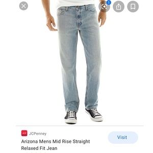 36 Arizona Mens Mid Rise Straight Relaxed Fit Jean